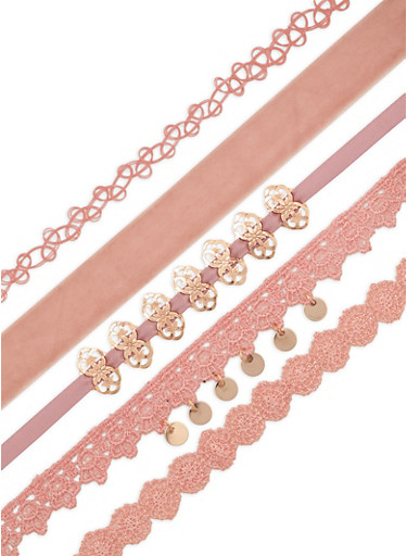 Assorted 5 Piece Choker Set,ROSE,large