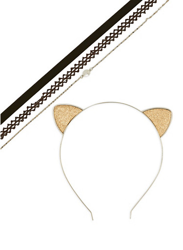 Glitter Cat Ear Headband with Choker Trio,SILVER,large