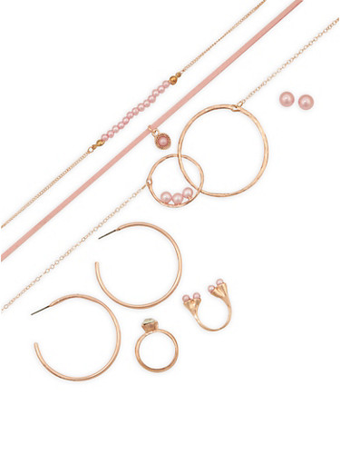 Faux Pearl Metallic Choker Trio and Earring Ring Set,ROSE,large
