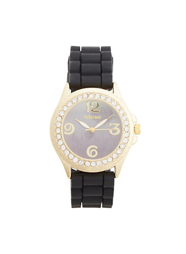 Watch with Crystal Bezel,BLACK,large