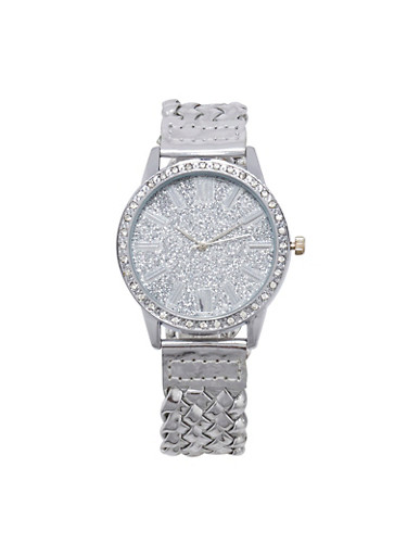 Glitter Woven Strap Watch,SILVER,large