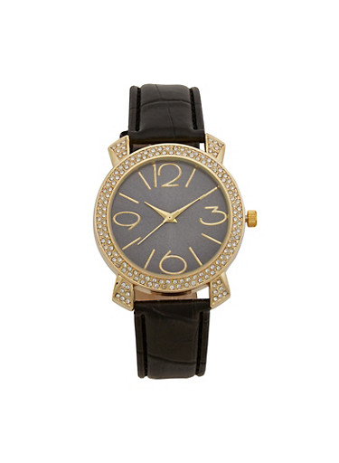 Rhinestone Bezel Watch with Faux Leather Strap,BLACK,large