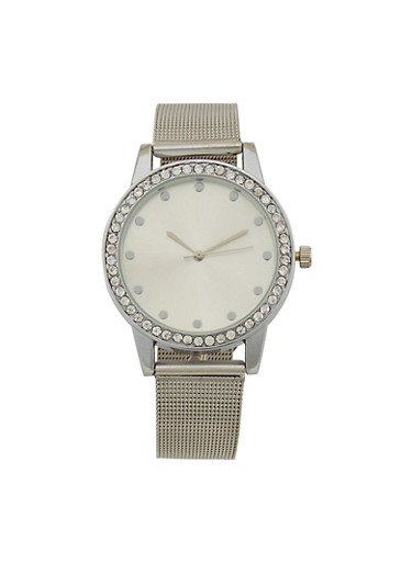 Rhinestone Bezel Watch with Metal Mesh Strap,SILVER,large