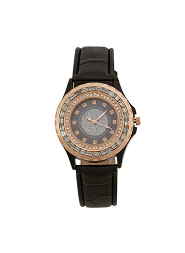 Rhinestone and Glitter Bezel Face Watch with Faux Leather Strap,BLACK,large