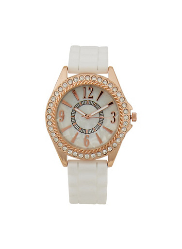 Rhinestone Bezel Number Watch with Rubber Strap,WHITE,large