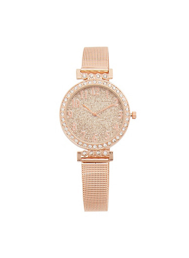 Thin Metallic Mesh Glitter Watch,ROSE,large
