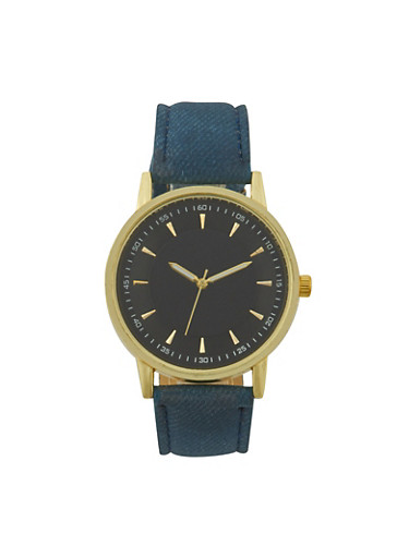 Watch with Denim Printed Faux Nubuck Band,BLACK,large