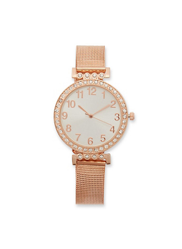 Rhinestone Number Watch with Metallic Mesh Strap,ROSE,large