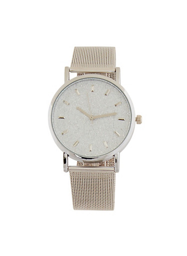 Glitter Face Watch with Metallic Mesh Band,SILVER,large