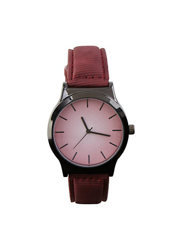 Ombre Face Textured Faux Leather Watch,WINE,large