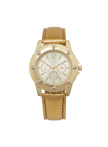 Embossed Faux Leather Bezel Watch,GOLD,large