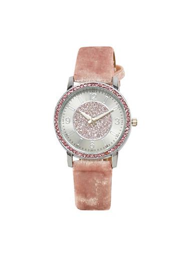 Velvet Glitter Watch,ROSE,large