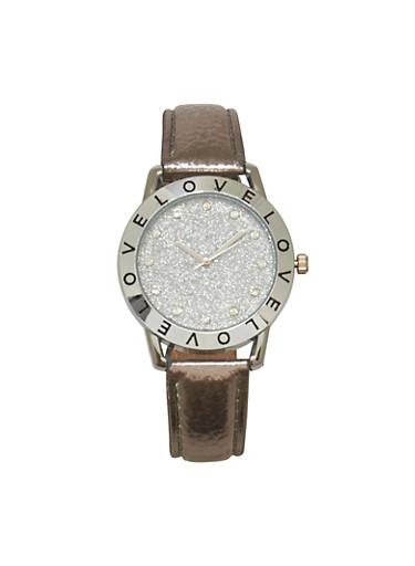 Love Glitter Watch,SILVER,large
