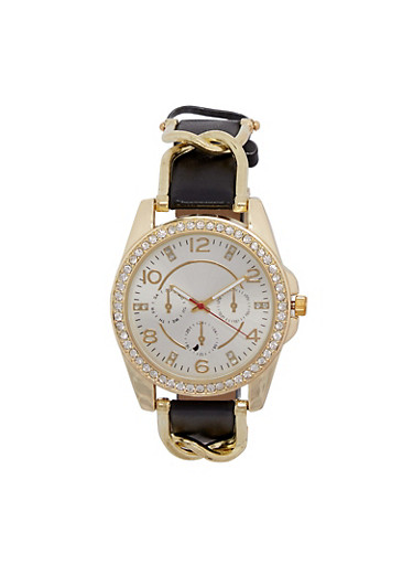 Rhinestone Bezel Watch with Faux Leather and Metal Strap,BLACK,large