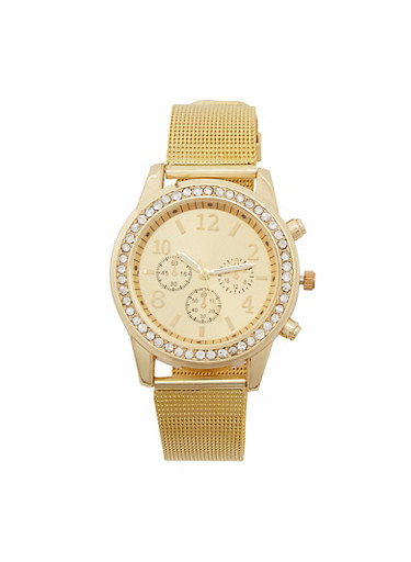 Rhinestone Bezel Watch with Metallic Mesh Strap,GOLD,large