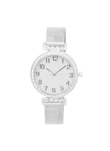 Rhinestone Bezel Number Watch with Mesh Strap,SILVER,large