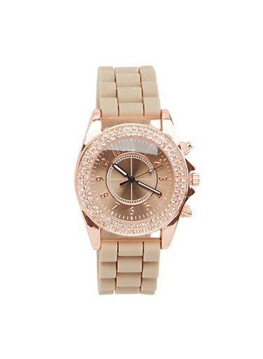 Double Rhinestone Bezel Watch with Rubber Strap,TAUPE,large