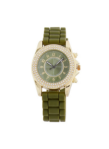 Textured Silicone Rhinestone Watch,OLIVE,large
