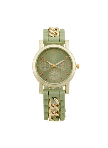 Rubber Watch with Chainlink Accents,GREEN,large