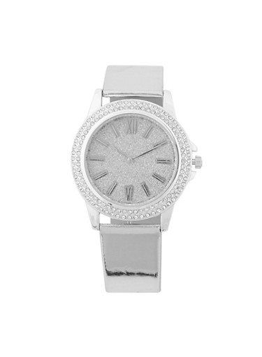 Glitter Face Rhinestone Bezel Watch,SILVER,large