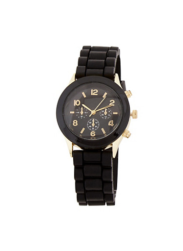 Solid Silicone Watch,BLACK,large