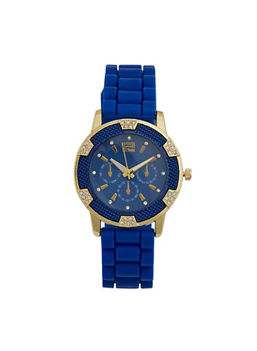 Rhinestone Silicone Watch,NAVY,large