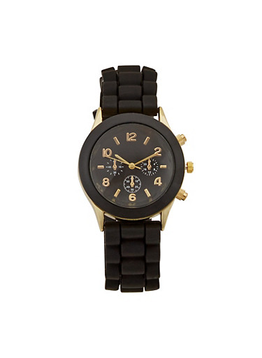 Watch with Tonal Bezel and Metallic Accents,BLACK,large