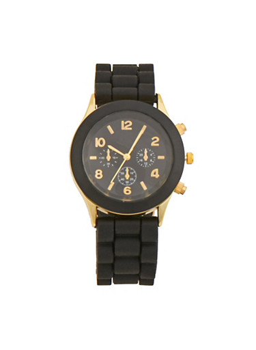Watch with Tonal Bezel and Rubber Strap,BLACK,large