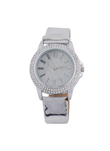 Mirrored Metallic Rhinestone Watch,SILVER,large