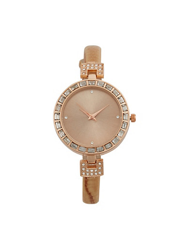 Rhinestone Bezel Watch with Thin Faux Leather Strap,TAUPE,large