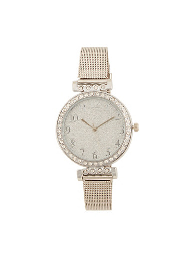 Glitter Face Watch with Metallic Mesh Wrist Band,SILVER,large