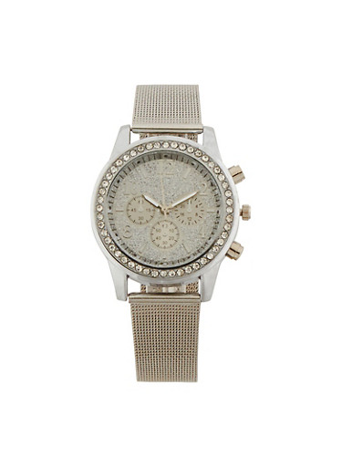 Glitter Face Watch with Thick Metal Mesh Strap,SILVER,large