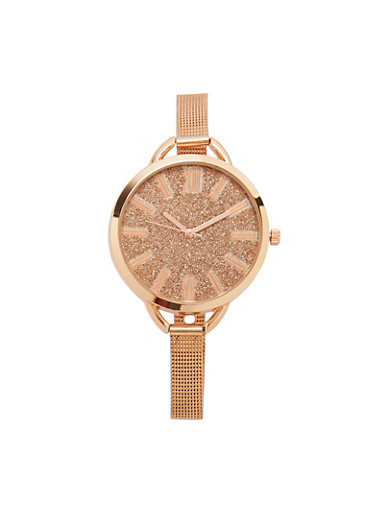 Glitter Face Watch with Thin Metal Mesh Strap,ROSE,large