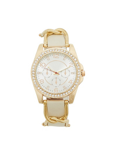 Rhinestone Watch with Chain Loop Detail,IVORY,large
