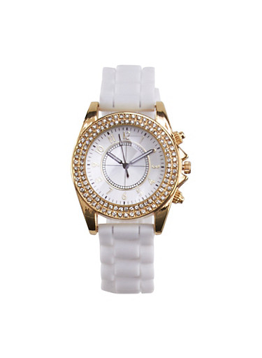 Rhinestone Bezel Watch with Rubber Chain Strap,WHITE,large