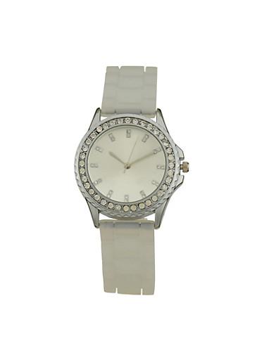 Clear Silicone Strap Rhinestone Watch,SILVER,large