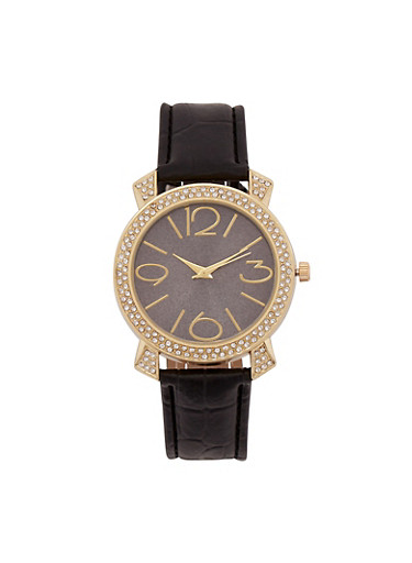 Rhinestone Watch with Embossed Faux Leather Strap,BLACK,large