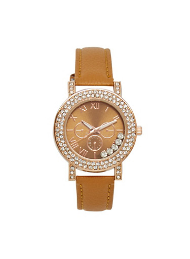 Floating Rhinestone Faux Leather Watch,TAN,large