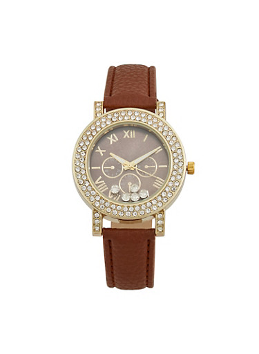 Floating Rhinestone Bezel Watch with Faux Leather Strap,COGNAC,large