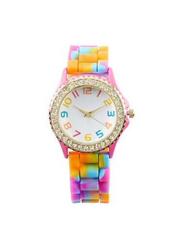 Rhinestone Bezel Watch with Multicolored Strap,MULTI COLOR,large