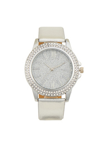 Metallic Watch with Crystal Bezel,SILVER,large