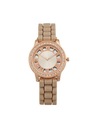 Rhinestone Bezel Watch with Rubber Strap,TAUPE,large