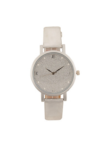 Glitter Face Watch,SILVER,large