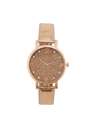 Glitter Face Watch,ROSE,large