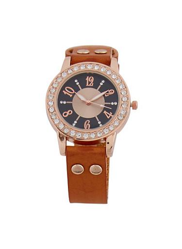 Faux Leather Rhinestone Watch,TAN,large