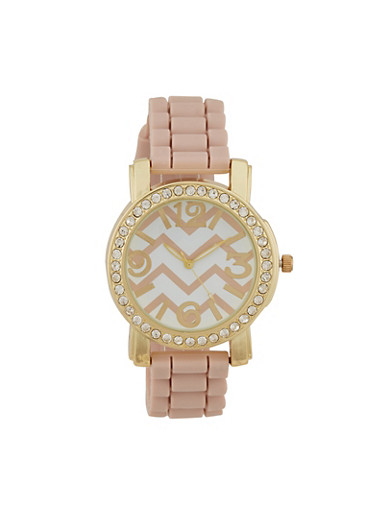 Chevron Print Rhinestone Watch,BLUSH,large