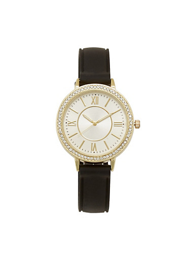 Roman Numeral Rhinestone Bezel Watch with Rubber Strap,BLACK,large