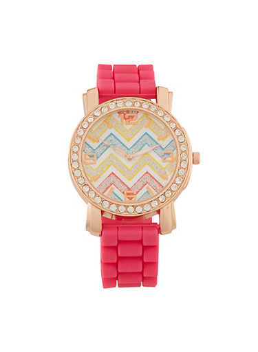 Watch with Chevron Face and Crystal Bezel,FUCHSIA,large