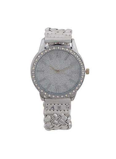 Glitter Rhinestone Watch with Woven Strap,SILVER,large