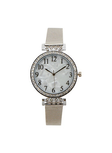 Pearlized Face Watch with Metal Mesh Strap,SILVER,large